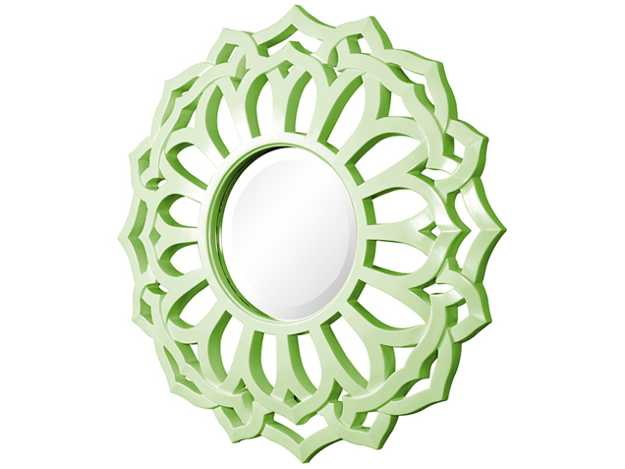 wall mirror frame in green color