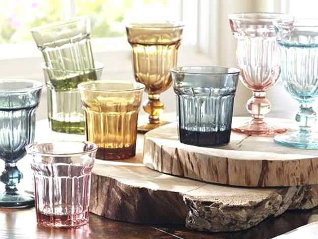 colored glass tableware