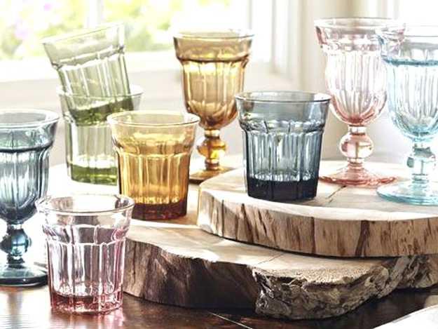 colored glass tableware