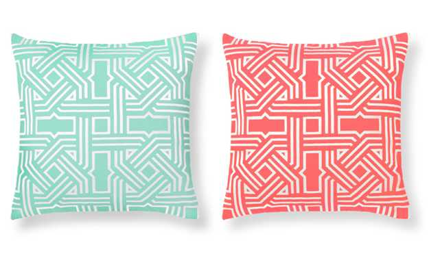 decorative pillows in green and pink colors