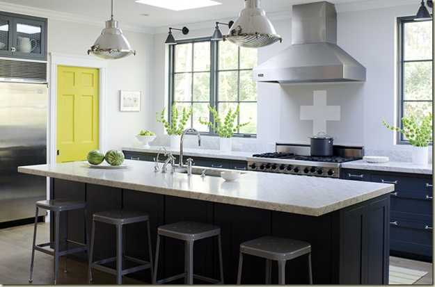 Yellow color accents jazz up elegant dark gray kitchen for Kitchen accent colors