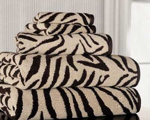bathroom towels with zebra print