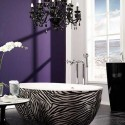 zebra bathtub and purple wall paint for bathroom decorating