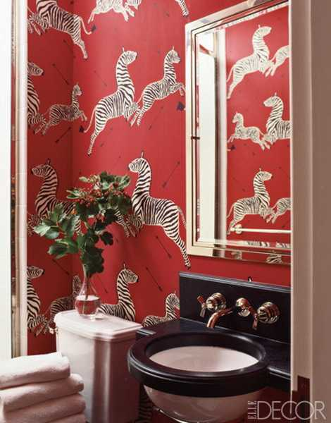 red wallpaper for bathroom with zebra images