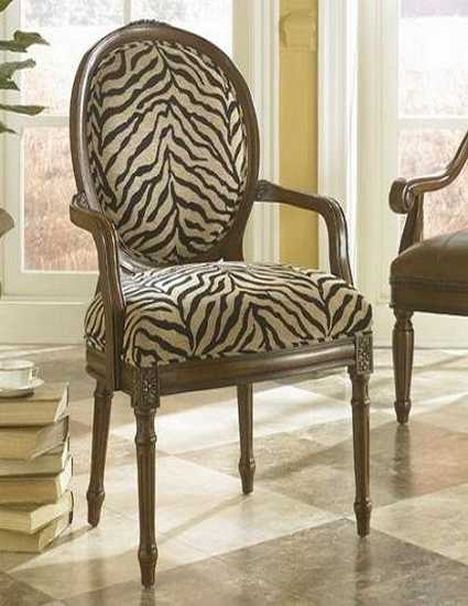 Black and white dining room decorating with zebra prints for Printed upholstered dining chairs