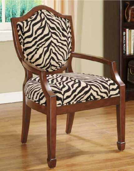 wooden chair with upholstery fabric in black and white and zebra print