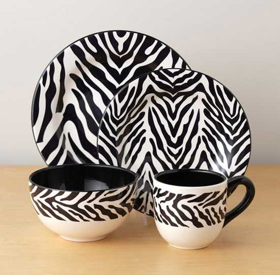 black and white tableware set with zebra pattern
