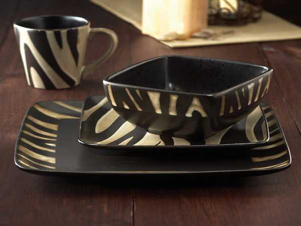 black and white tableware with zebra print