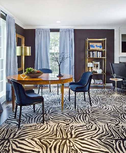 black and white floor carpet with zebra pattern