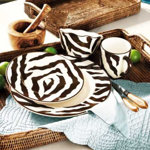 tableware set with zebra pattern