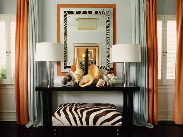 Console Table With Table Lamps And Ottoman With Zebra Stripes Part 95