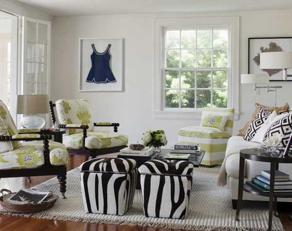 21 modern living room decorating ideas incorporating zebra for Animal print furniture home decor