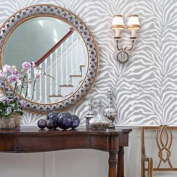 Exotic home decorating ideas allowing zebra prints to reveal your wild side - Exciting image of home decoration using pink zebra wallpaper ...