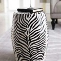 side table with zebra print