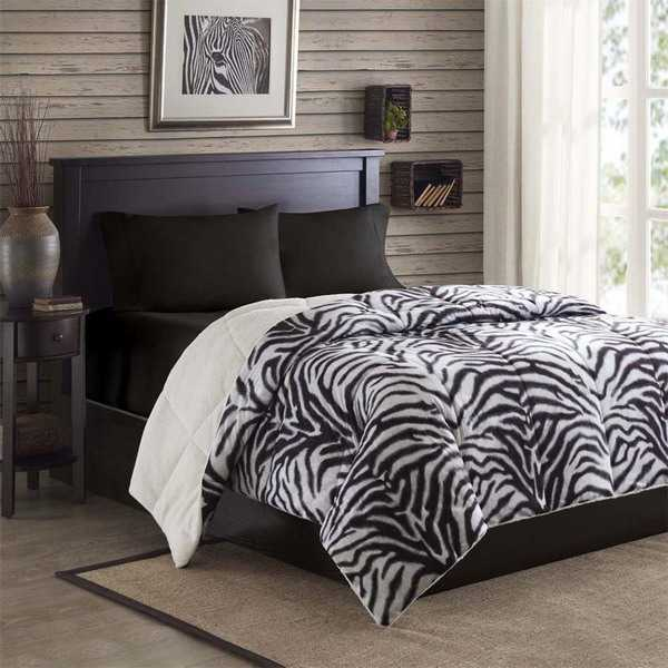 modern bedroom decorating with zebra pattern
