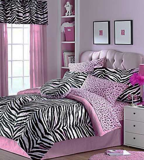 black and pink color combination for bedroom decorating with zebra pattern