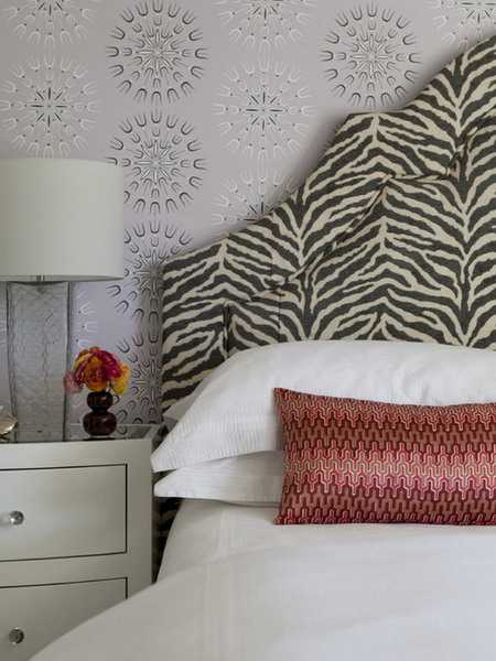 black and white zebra print on headboard upholstery fabric