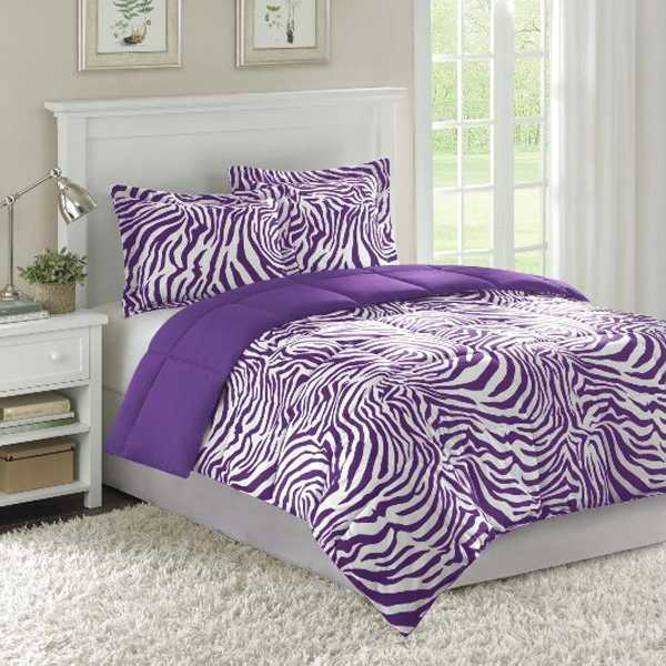 zebra bedding set in purple color