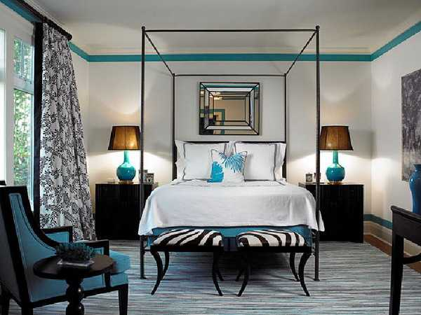 turquoise blue and black bedding decorating with zebra pattern