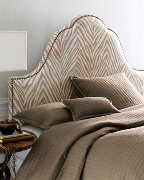 zebra stripes on bed headboard upholstery