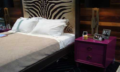zebra pattern on bed headboard