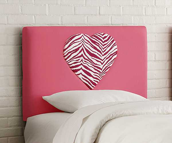 bed headboard upholstery fabric with zebra stripes in pink color