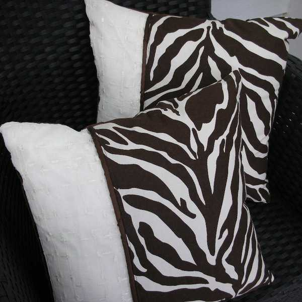 zebra fabric print on decorative pillows