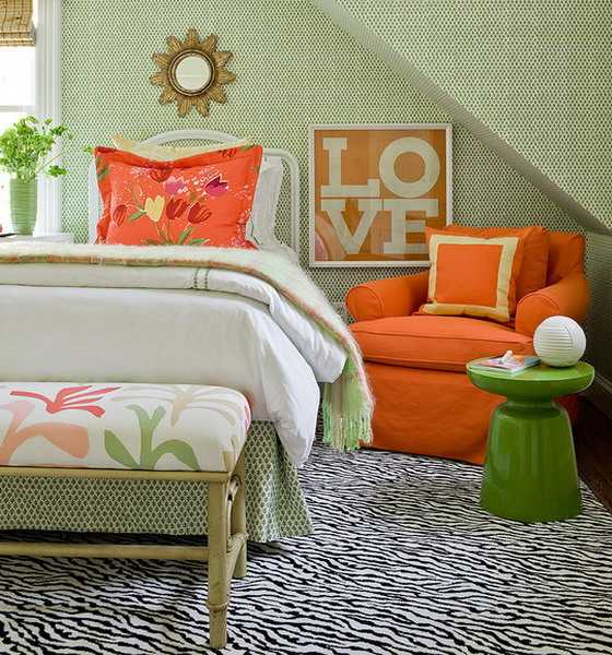 zebra floor rug, green and orange bedroom colors