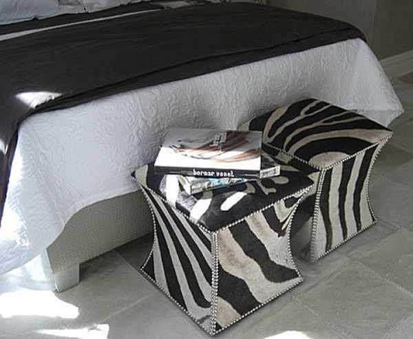 zebra prints and decoration patterns personalizing modern bedroom