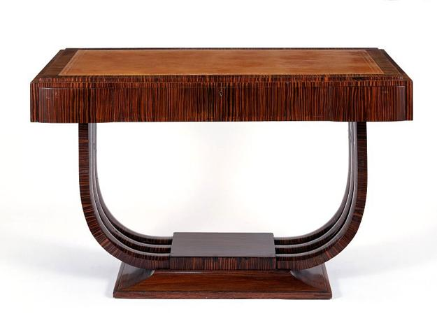 art deco furniture, carved wood console table