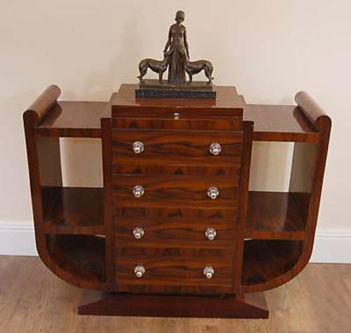 art deco furniture, shelving cabinet with four drawers