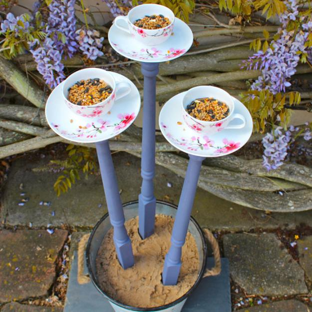 bird feeders made with tea cups and saucers