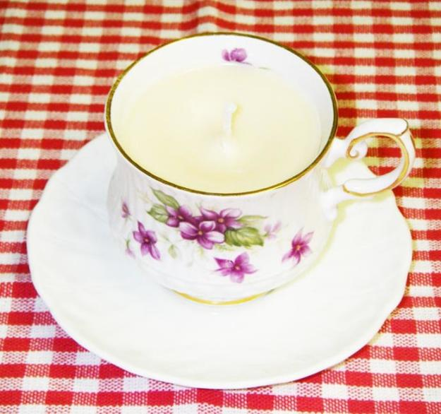 handmade candles created with tea cups