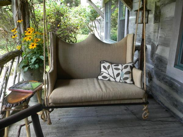 hanging swing bench with cushions