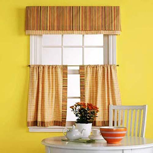 Yellow Wall Paint And Window Curtains For Kitchen Decorating
