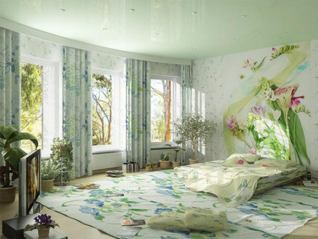 bedroom decorating with light floral curtain fabric and floral bedding