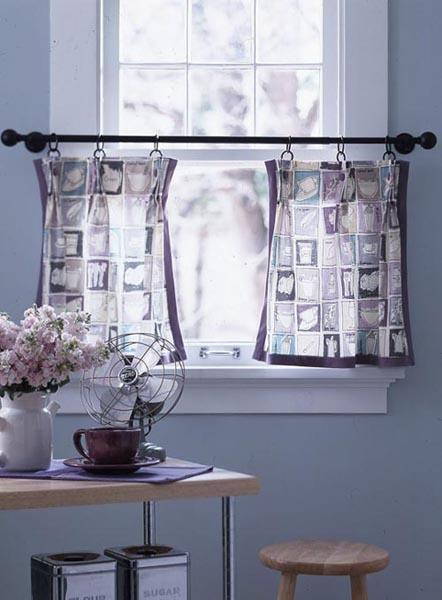 Cool Blue Wall Paint And Black And White Kitchen Curtains For Summer  Decorating