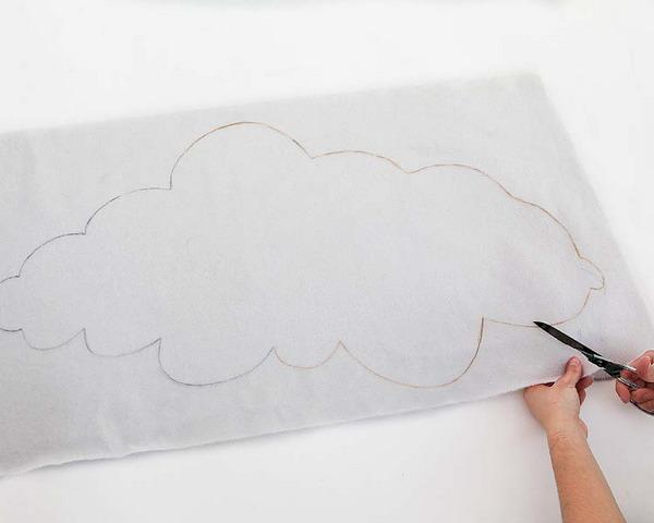 white fabric cloud decoration