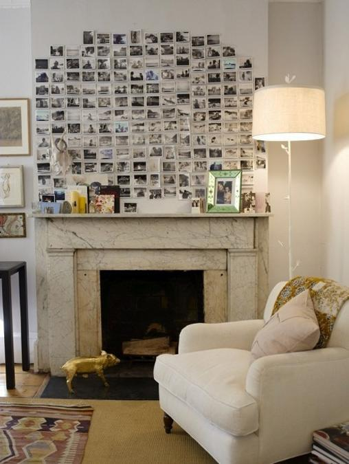 Fireplace Decorating With Light Color Combination And Photographs
