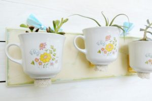 wall planters made with tea cups
