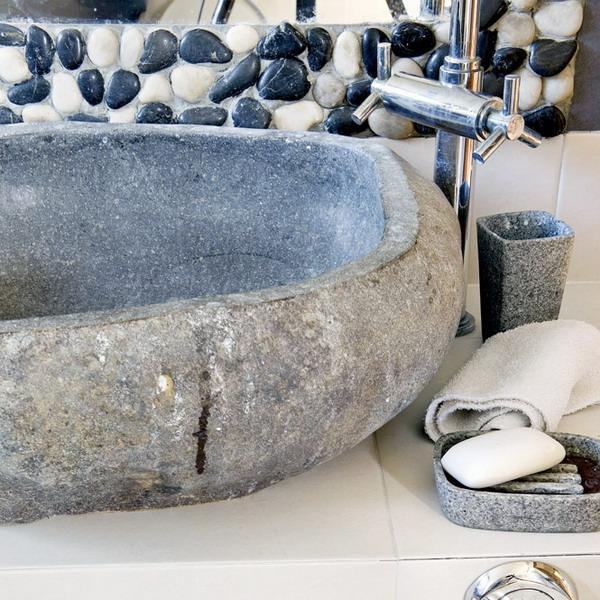 stone sink for country home bathroom decorating