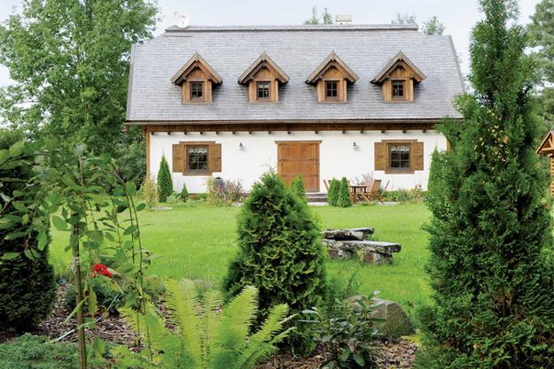 country home with garden