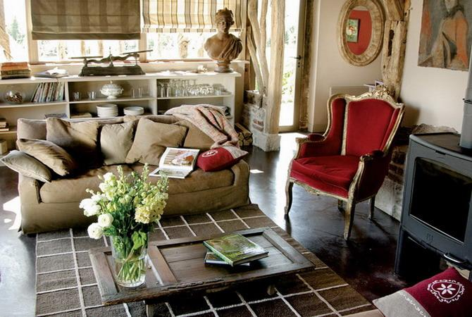 vintage furniture with biege and red upholstery fabric