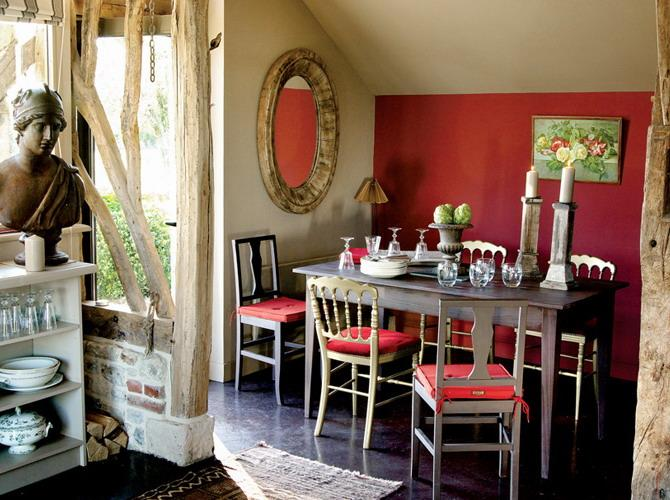 Dining Room Decorating With Red Accent Wall And Chair Upholstery Fabric