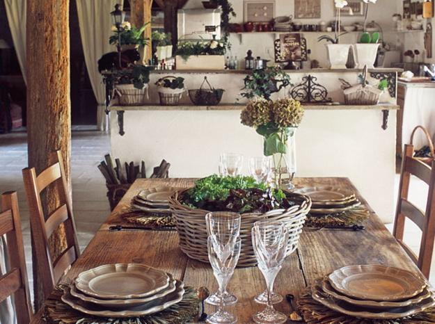 Rustic Wood Dining Table For French Country Home Decorating