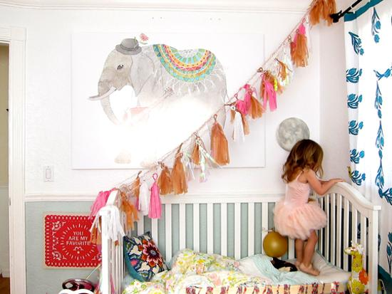 girls bed decorating with handmade accents and pink color
