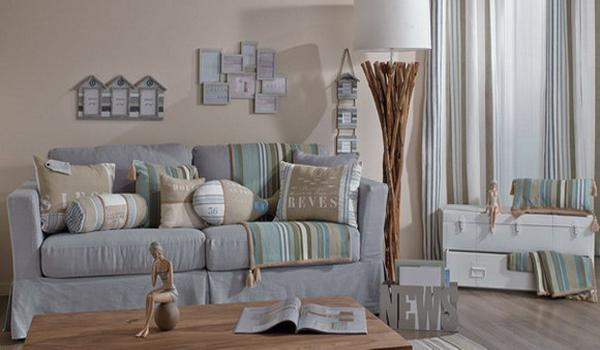 Cool gray and blue color palette with brighter accents for for Divani la maison du monde