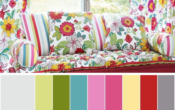 Interior Paint Colors And Home Furnishings In Bright Color Combinations For Summer Decorating