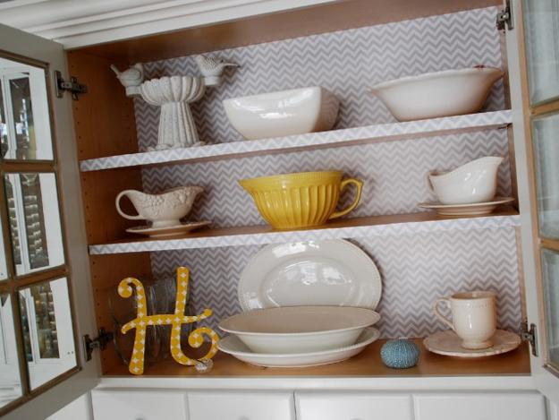 kitchen cabinet decorating with paper