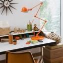 orange desk lamp, home office decor